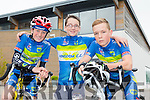 Ciarán Commane, Troy Kennedy and Robbie Scot from Kingdom cycle club at the Tralee Manor West GP on Sunday