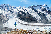 Hiking at the Gornergrat, above Zermatt, Switzerland, with a view of the glaciers coming off of Monte Rosa.