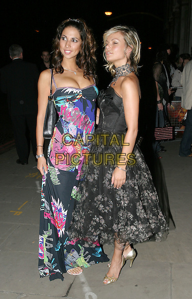"JAKKI  DEGG & LEILANI.arrivals at ""Spiderman 2"" film premiere party.at Old Billingsgate Market.London 12 July 2004.full length, graffiti dress, cleavage, fashion disaster, black lace, pearls.www.capitalpictures.com.sales@capitalpictures.com.© Capital Pictures."