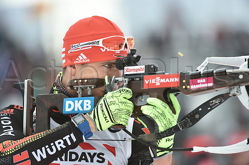 03.03.2016. Holmenkollen, Oslo, Norway.  Male biathlete Arnd Peiffer of Germany in action during the mixed relay competition at the Biathlon World Championships, in the Holmenkollen Ski Arena, Oslo, Norway, 03 March 2016.