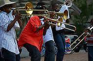 June 26, 2011 (Washington, DC) Members of the Brass Connection band from Charlotte, North Carolina gave an impromptu performance in the Dupont Circle area of the city.  The New Orleans inspired brass sound of the band inspired the crowd as the members put on a show.  (Photo: Don Baxter/Media Images International)