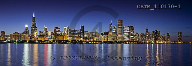 Tom Mackie, LANDSCAPES, panoramic, photos, Chicago Skyline, Illinois, USA, GBTM110170-1,#L#