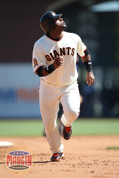 SAN FRANCISCO - AUGUST 24:  Pablo Sandoval of the San Francisco Giants runs the bases during the game against the San Diego Padres at AT&T Park in San Francisco, California on August 24, 2008.  The Giants defeated the Padres 7-4.  Photo by Brad Mangin