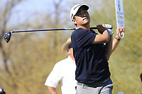 John Huh (USA) tees off the 9th tee during Saturday's Round 3 of the Waste Management Phoenix Open 2018 held on the TPC Scottsdale Stadium Course, Scottsdale, Arizona, USA. 3rd February 2018.<br /> Picture: Eoin Clarke | Golffile<br /> <br /> <br /> All photos usage must carry mandatory copyright credit (&copy; Golffile | Eoin Clarke)