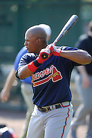 Outfielder Cedric Hunter (80) of the Atlanta Braves farm system in a Minor League Spring Training intrasquad game on Wednesday, March 18, 2015, at the ESPN Wide World of Sports Complex in Lake Buena Vista, Florida. (Tom Priddy/Four Seam Images)
