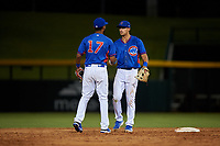 AZL Cubs 2 infielders Luis Verdugo (17) and Chase Strumpf (15) celebrate a victory after an Arizona League game against the AZL Dbacks on June 25, 2019 at Sloan Park in Mesa, Arizona. AZL Cubs 2 defeated the AZL Dbacks 4-0. (Zachary Lucy/Four Seam Images)