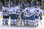 February 20, 2016 - Colorado Springs, Colorado, U.S. -   Air Force players celebrate their victory following an NCAA ice hockey game between the Robert Morris University Colonials and the Air Force Academy Falcons at Cadet Ice Arena, United States Air Force Academy, Colorado Springs, Colorado.  Air Force defeats Robert Morris 4-1