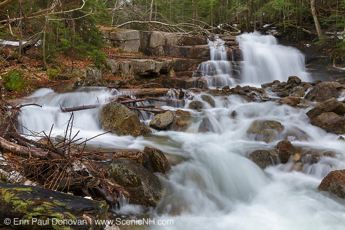 Stairs Falls along Dry Brook in Franconia Notch State Park of the New Hampshire White Mountains during the spring months. The Falling Waters Trail passes by this small waterfall.