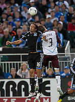 Santa Clara, California - Saturday August 25th, 2012: San Jose Earthquakes' Alan Gordon and Colorado Rapids' Drew Moor in action during a game at Buck Shaw Stadium, Stanford, Ca    San Jose Earthquakes defeated Colorado Rapids 4 - 1
