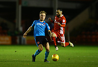 Kyle Dempsey of Fleetwood Town wins the ball against Erhun Oztumer of Walsall during the Sky Bet League 1 match between Walsall and Fleetwood Town at the Banks's Stadium, Walsall, England on 21 November 2017. Photo by Leila Coker.