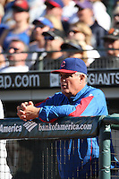 SAN FRANCISCO - JULY 3:  Manager Lou Piniella of the Chicago Cubs watches from the dugout during the game against the San Francisco Giants at AT&T Park in San Francisco, California on July 3, 2008.  The Giants defeated the Cubs 8-3.  Photo by Brad Mangin