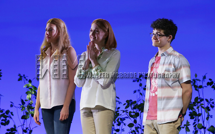 """Jessica Phillips, Christianne Noll and Jared Goldsmith as Andrew Barth Feldman takes his final """"Dear Evan Hansen"""" bows and """"Passes the Polo"""" to Jordan Fisher at the Music Box Theatre on January 26, 2020 in New York City."""