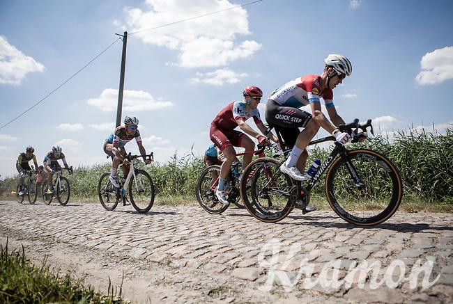 Bob Jungels (LUX/Quick Step Floors) hitting the cobbles. <br /> <br /> Stage 9: Arras Citadelle > Roubaix (154km)<br /> <br /> 105th Tour de France 2018<br /> ©kramon