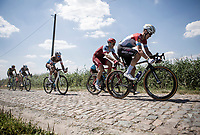 Bob Jungels (LUX/Quick Step Floors) hitting the cobbles. <br /> <br /> Stage 9: Arras Citadelle > Roubaix (154km)<br /> <br /> 105th Tour de France 2018<br /> ©kramon