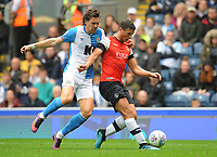 Luton Town's Matty Pearson under pressure from Blackburn Rovers' Stewart Downing<br /> <br /> Photographer Kevin Barnes/CameraSport<br /> <br /> The EFL Sky Bet Championship - Blackburn Rovers v Luton Town - Saturday 28th September 2019 - Ewood Park - Blackburn<br /> <br /> World Copyright © 2019 CameraSport. All rights reserved. 43 Linden Ave. Countesthorpe. Leicester. England. LE8 5PG - Tel: +44 (0) 116 277 4147 - admin@camerasport.com - www.camerasport.com