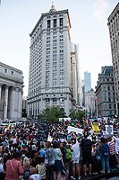 """NEW YORK, NY - JULY 12: Hundreds of people gather in Foley Square ower Manhattan for a """"Lights for Liberty"""" protest against immigrant detention camps and the imminent Immigration raids by ICE on July 12, 2019. New York. (Photo by Pablo Monsalve/VIEWpress)"""