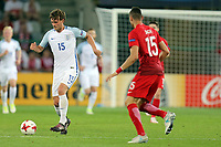 John Swift of England and Jaroslaw Jach of Poland during England Under-21 vs Poland Under-21, UEFA European Under-21 Championship Football at The Kolporter Arena on 22nd June 2017