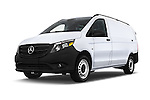 Stock pictures of low aggressive front three quarter view of 2018 Mercedes Benz Metris Cargo-Van 4 Door Cargo Van Low Aggressive