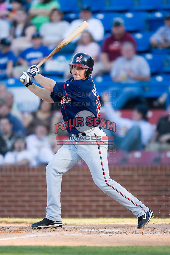 Johnny Drennen (22) of the Kinston Indians follows through on his swing versus the Winston-Salem Warthogs at Ernie Shore Field in Winston-Salem, NC, Saturday, May 17, 2008.