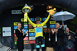 Jakob Fuglsang (DEN) Astana Pro Team takes over the race leaders Yellow Jersey at the end of Stage 7 of the Criterium du Dauphine 2019, running 133.5km from Saint-Genix-les-Villages to Les Sept Laux - Pipay, France. 15th June 2019.<br /> Picture: ASO/Alex Broadway | Cyclefile<br /> All photos usage must carry mandatory copyright credit (© Cyclefile | ASO/Alex Broadway)