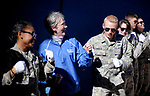 November 4, 2017:  Secretary of the Air Force, Heather Wilson, enjoys pre-game festivities with the Air Force Academy Drum & Bugle Corps prior the NCAA Football game between the Army West Point Black Knights and the Air Force Academy Falcons at Falcon Stadium, United States Air Force Academy, Colorado Springs, Colorado.  Army West Point defeats Air Force 21-0.