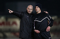 Hornchurch manager Mark Stimson (L) during AFC Hornchurch vs Great Wakering Rovers, BBC Essex Senior Cup Football at Hornchurch Stadium on 4th December 2018