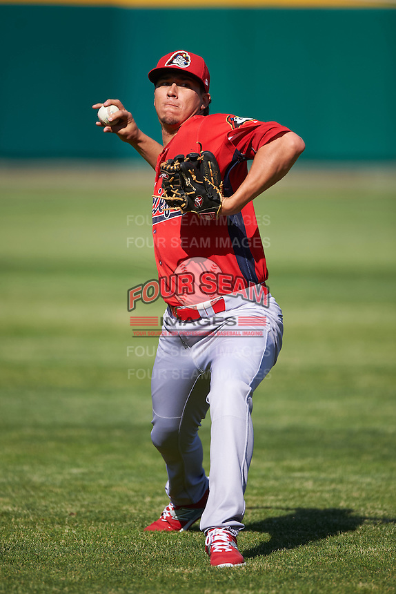 Peoria Chiefs pitcher Jhonny Polanco (39) throws in the outfield before a game against the Lansing Lugnuts on June 6, 2015 at Cooley Law School Stadium in Lansing, Michigan.  Lansing defeated Peoria 6-2.  (Mike Janes/Four Seam Images)