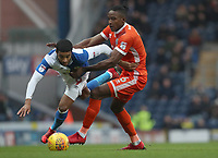 Blackburn Rovers' Dominic Samuel and Shrewsbury Town's Omar Beckles<br /> <br /> Photographer Rachel Holborn/CameraSport<br /> <br /> The EFL Sky Bet League One - Blackburn Rovers v Shrewsbury Town - Saturday 13th January 2018 - Ewood Park - Blackburn<br /> <br /> World Copyright &copy; 2018 CameraSport. All rights reserved. 43 Linden Ave. Countesthorpe. Leicester. England. LE8 5PG - Tel: +44 (0) 116 277 4147 - admin@camerasport.com - www.camerasport.com