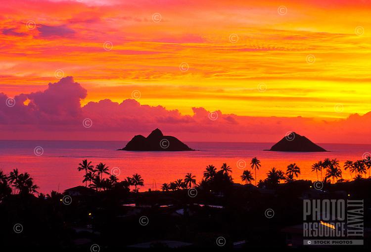 The sunrise at Lanikai beach with the Moku Lua islands off shore