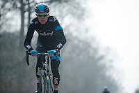 Paris-Roubaix 2013 RECON at Bois de Wallers-Arenberg..Luke Rowe (GBR)