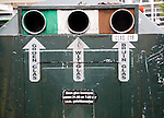 Recycling collection container for green, white and brown glass, Netherlands
