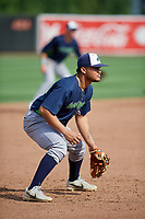Vermont Lake Monsters third baseman Jordan Diaz (12) during a NY-Penn League game against the Aberdeen IronBirds on August 18, 2019 at Leidos Field at Ripken Stadium in Aberdeen, Maryland.  Vermont defeated Aberdeen 6-5.  (Mike Janes/Four Seam Images)