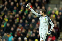 1st December 2019; Carrow Road, Norwich, Norfolk, England, English Premier League Football, Norwich versus Arsenal; Tim Krul of Norwich City gives the fans a thumbs up dign as the sing his name- Strictly Editorial Use Only. No use with unauthorized audio, video, data, fixture lists, club/league logos or 'live' services. Online in-match use limited to 120 images, no video emulation. No use in betting, games or single club/league/player publications