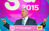 Prime Minister Benjamin Netanyahu of Israel addresses the 2015 Jewish Federations of North America General Assembly at the Washington Hilton Hotel in Washington, DC on Tuesday, November 10, 2015.<br /> Credit: Ron Sachs / CNP