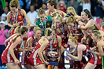 ENG - London, England, August 30: Team of England receives the EuroHockey 2015 trophy after winning the final against The Netherlands on shoot-out on August 30, 2015 at Lee Valley Hockey and Tennis Centre, Queen Elizabeth Olympic Park in London, England.  (Photo by Dirk Markgraf / www.265-images.com) *** Local caption *** Kate RICHARDSON-WALSH #11 of England holds the trophy