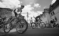 2013 Giro d'Italia.stage 11.Tarvisio - Vajont: 182km..Kenny Dehaes (BEL) leaving Tarvisio (Cave del Predil)..