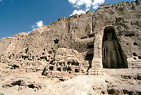 The Bamiyan Buddha of 34 m high surround by hundreds of monastery, temple and habitation in 1995..These magnificent colossal statues, created during the 3rdâ4th centuries A.D., attracted pilgrims for centuries, far beyond the time when Buddhism languished in India following the disastrous visitation of the Hephthalite Huns in the 5th century, the subsequent resurgence of Hinduism, and the arrival of iconoclastic Islam in the 7th century..The entire niche was once covered with paintings dating from i he late 5th to the early 7th centuries.
