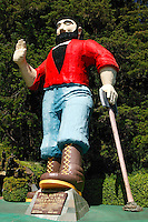 The Tree's of Mystery statues of Paul Bunyan and his Blue Ox Babe stand out front near the Redwoods State and National Parks, California