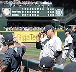Masahiro Tanaka (Yankees), JUNE 3, 2015 - MLB : New York Yankees starting pitcher Masahiro Tanaka gets congratulation against the Seattle Mariners at Safeco Field in Seattle, United States. (Photo by AFLO)