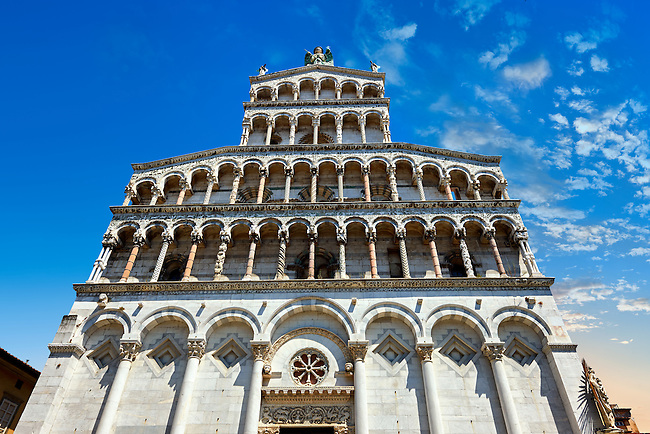 13th century facade of the San Michele in Foro is a Roman Catholic basilica church in Lucca, Tunscany, Italy