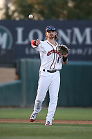 Brendan Rodgers (1) of the Lancaster JetHawks makes a throw during a game against the Lake Elsinore Storm at The Hanger on June 12, 2017 in Lancaster, California. Lancaster defeated Lake Elsinore, 13-6. (Larry Goren/Four Seam Images)