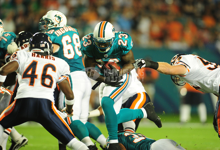 Nov. 18, 2010;  Miami, FL, USA; Miami Dolphins running back (23) Ronnie Brown against the Chicago Bears at Sun Life Stadium. Mandatory Credit: Mark J. Rebilas-