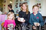Lisa Horgan taking a break with her kids Ayla and Matthew at the Alzheimer's tea morning in Castleisland on Thursday