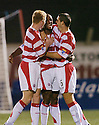 17/10/2006       Copyright Pic: James Stewart.File Name :sct_jspa05_hamilton_v_clyde.RICHARD OFFIONG CELEBRATES SCORING THE SECOND....Payments to :.James Stewart Photo Agency 19 Carronlea Drive, Falkirk. FK2 8DN      Vat Reg No. 607 6932 25.Office     : +44 (0)1324 570906     .Mobile   : +44 (0)7721 416997.Fax         : +44 (0)1324 570906.E-mail  :  jim@jspa.co.uk.If you require further information then contact Jim Stewart on any of the numbers above.........