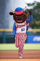 Buffalo Bisons mascot Buster T. Bison running the bases for an on field promotion in between innings during a game against the Syracuse Chiefs on July 3, 2017 at Coca-Cola Field in Buffalo, New York.  Buffalo defeated Syracuse 6-2.  (Mike Janes/Four Seam Images)