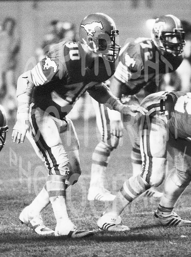 Danny Bass Calgary Stampeders linebacker 1983 Copyright photograph Scott Grant