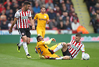 Preston North End's Darnell Fisher  in action with Sheffield United's Oliver Norwood<br /> <br /> Photographer Mick Walker/CameraSport<br /> <br /> The EFL Sky Bet Championship - Sheffield United v Preston North End - Saturday 22 September 2018 - Bramall Lane - Sheffield<br /> <br /> World Copyright © 2018 CameraSport. All rights reserved. 43 Linden Ave. Countesthorpe. Leicester. England. LE8 5PG - Tel: +44 (0) 116 277 4147 - admin@camerasport.com - www.camerasport.com
