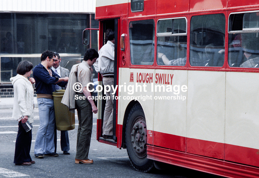 Passengers board a Londonderry & Lough Swilly Bus Company bus in Londonderry, 197908000085a..Copyright Image from Victor Patterson, 54 Dorchester Park, Belfast, UK, BT9 6RJ..Tel: +44 28 9066 1296.Mob: +44 7802 353836.Voicemail +44 20 8816 7153.Skype: victorpattersonbelfast.Email: victorpatterson@me.com.Email: victorpatterson@ireland.com (back-up)..IMPORTANT: If you wish to use this image or any other of my images please go to www.victorpatterson.com and click on the Terms & Conditions. Then contact me by email or phone with the reference number(s) of the image(s) concerned.