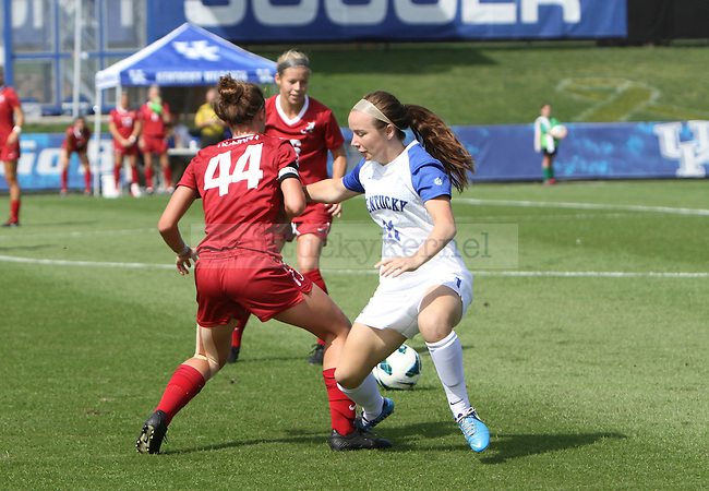Sophomore midfielder Stuart Pope chases the ball at the Women's Soccer game vs Alabama in Lexington, Ky. on Sunday, Sept. 30, 2012. Photo by Logan Douglas| Staff