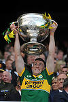 Jonathon Lyne lifts the Sam Maguire Cup to celebrate  Kerry's victory over Donegal in the All-Ireland Football Final against  in Croke Park 2014.<br /> Photo: Don MacMonagle<br /> <br /> <br /> Photo: Don MacMonagle <br /> e: info@macmonagle.com